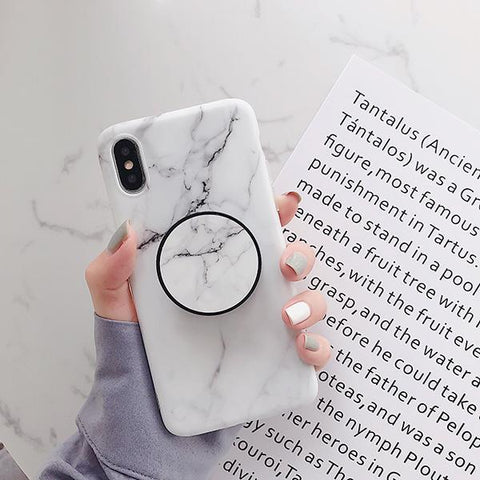 iPhone X Case White Marble Stand Holder iPhone Cover-CoolDesignOnline