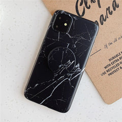 Black Marble iPhone 11 Case Stand Holder iPhone Cover-CoolDesignOnline