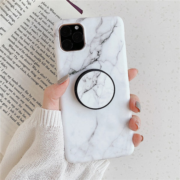 White Marble iPhone 11 Pro Max Case Stand Holder iPhone Cover-CoolDesignOnline