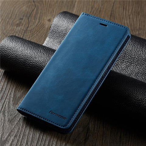 iPhone XS Wallet Case Leather Flip Card Holder iPhone Case Blue-CoolDesignOnline
