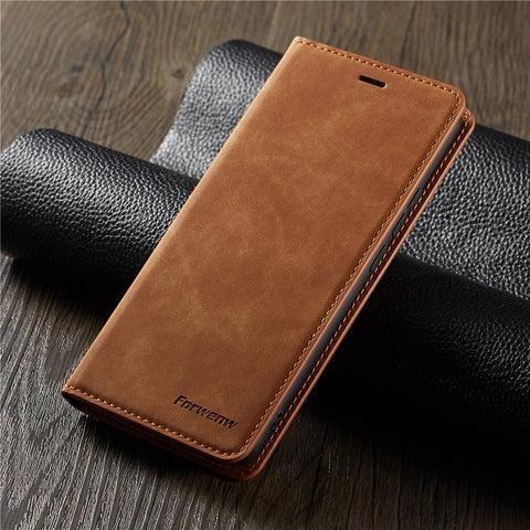 iPhone XS Max Wallet Case Leather Flip Card Holder iPhone Case Brown-CoolDesignOnline