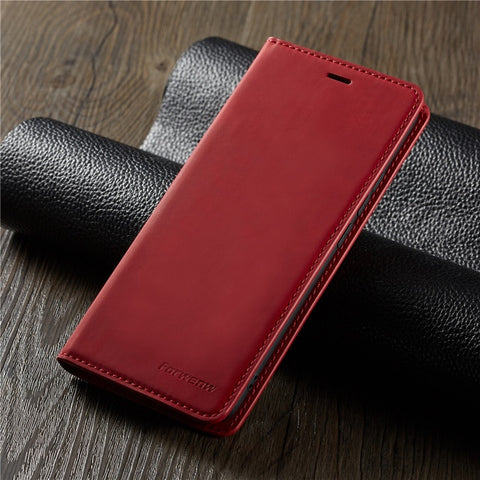 iPhone XS Wallet Case Leather Flip Card Holder iPhone Case Red-CoolDesignOnline