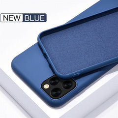 iPhone 11 Pro Max Case Solid Candy Color Liquid Silicone Blue Cover-CoolDesignOnline