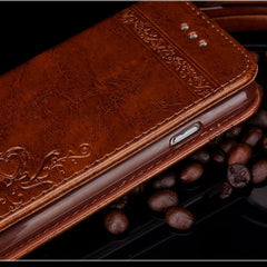 iPhone SE Case 2020 Brown Wallet Leather Flip Card Holder iPhone Cover-CoolDesignOnline