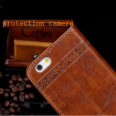 iPhone 8 Plus Wallet Case Leather Flip Card Holder iPhone Cover Coffee-CoolDesignOnline