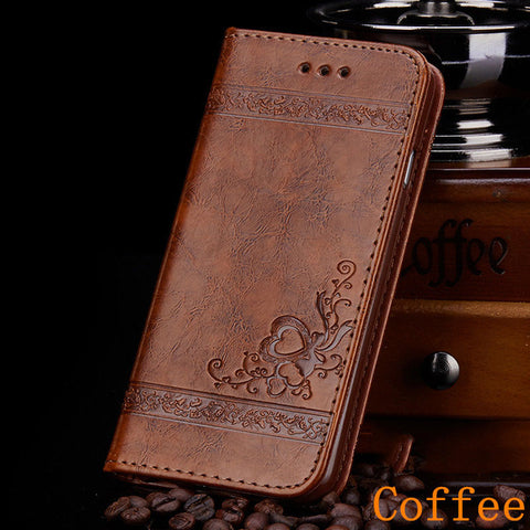 iPhone 8 Wallet Case Leather Flip Card Holder iPhone Cover Coffee-CoolDesignOnline