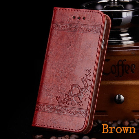 iPhone 8 Plus Wallet Case Leather Flip Card Holder iPhone Cover Brown-CoolDesignOnline