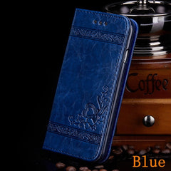 iPhone 8 Plus Wallet Case Leather Flip Card Holder iPhone Cover Blue-CoolDesignOnline