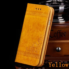iPhone 8 Wallet Case Leather Flip Card Holder iPhone Cover Yellow-CoolDesignOnline