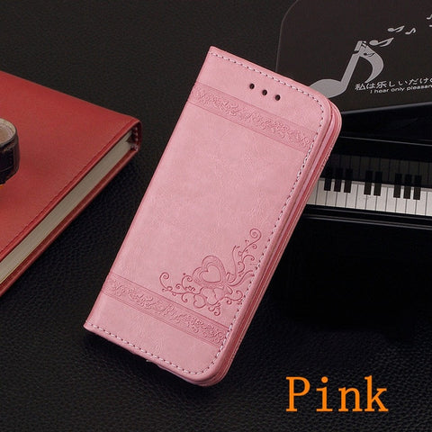 iPhone 8 Wallet Case Leather Flip Card Holder iPhone Cover Pink-CoolDesignOnline