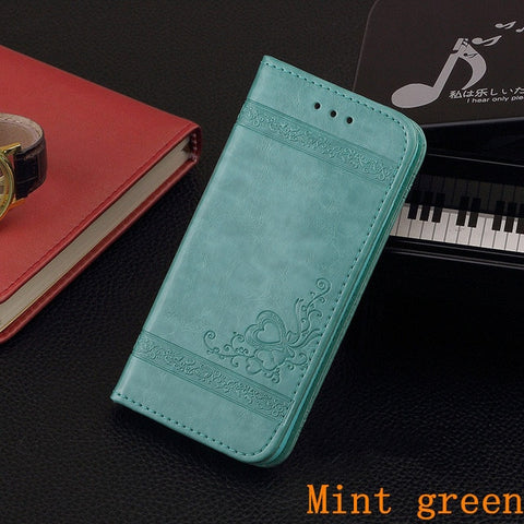 iPhone 8 Plus Wallet Case Leather Flip Card Holder iPhone Cover Mint Green-CoolDesignOnline