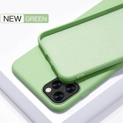 iPhone 11 Pro Max Case Solid Candy Color Liquid Matcha Green Cover-CoolDesignOnline