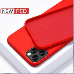 iPhone 11 Pro Max Case Solid Candy Color Liquid Silicone Red Cover-CoolDesignOnline