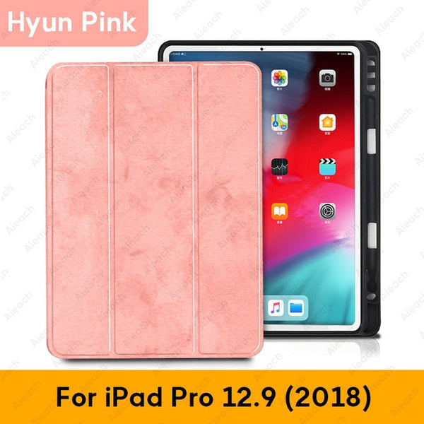 iPad Pro 3rd Generation Case 12.9 inch With Pencil Holder Cover Pink-CoolDesignOnline