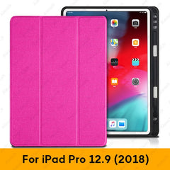 iPad Pro 3rd Generation Case 12.9 inch With Pencil Holder Cover Rose Red-CoolDesignOnline
