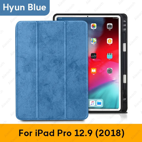 iPad Pro 3rd Generation Case 12.9 inch With Pencil Holder Cover Blue 02-CoolDesignOnline