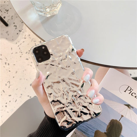 iPhone 11 Case Clear Luxury Electroplate Cute iPhone Cover Silver-CoolDesignOnline
