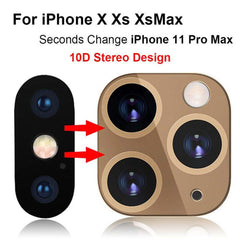 iPhone X Camera Lens Cover Change To Fake iPhone 11 Pro Gold-CoolDesignOnline