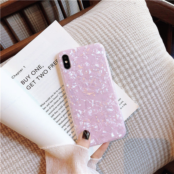 iPhone X Case Glitter Glossy Marble Bling Shell iPhone Cover Pink-CoolDesignOnline