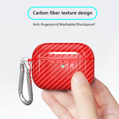 AirPods Pro Case Keychain Carbon Fiber Red Grain AirPods Case-CoolDesignOnline