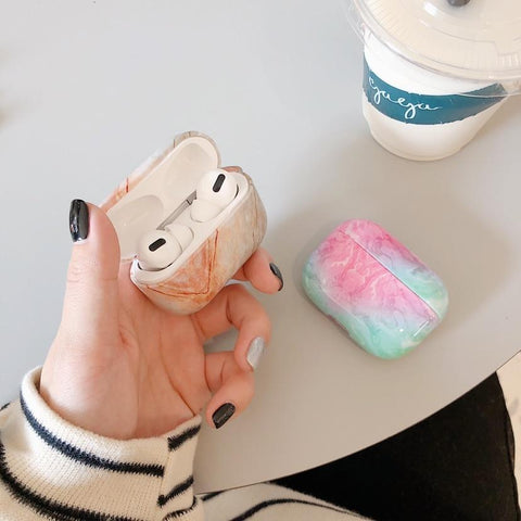 AirPods Pro Case 3D White Marble Pattern AirPods Case-CoolDesignOnline