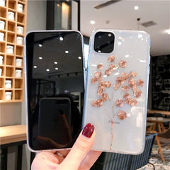 iPhone 11 Case Clear Glitter Luxury Maple Leaf iPhone Cover Plant-CoolDesignOnline