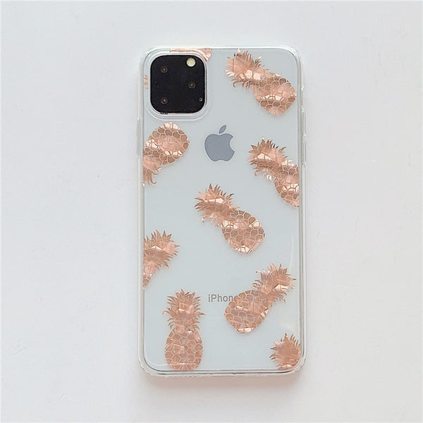 iPhone 11 Pro Case Clear Glitter Maple Leaf iPhone Cover Pineapple-CoolDesignOnline
