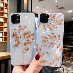 iPhone 11 Pro Case Clear Glitter Maple Leaf iPhone Cover Plant-CoolDesignOnline
