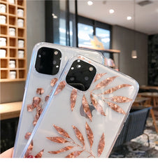 iPhone 11 Pro Max Case Clear Glitter Maple Leaf iPhone Cover Leaf-CoolDesignOnline