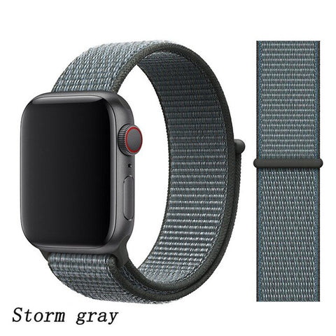 Apple Watch Band 1 Series 38mm Nylon Breathable Sport Loop Storm Gray-CoolDesignOnline