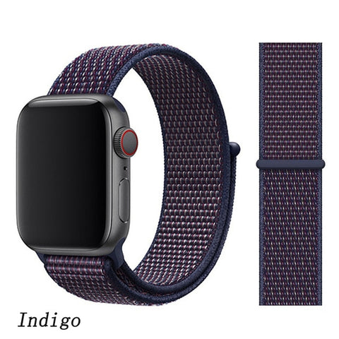 Apple Watch Band 5 Series 44mm Nylon Breathable Sport Loop Indigo-CoolDesignOnline