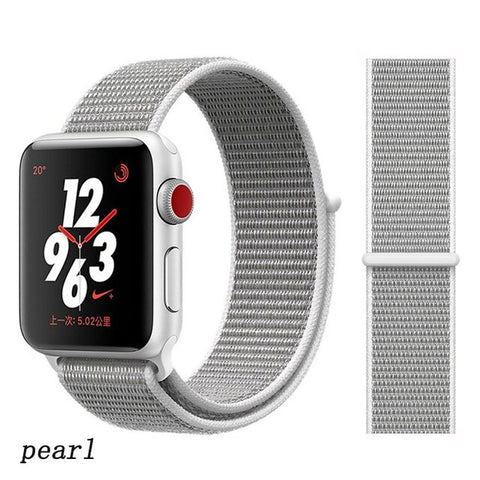 Apple Watch Band 1 Series 38mm Nylon Breathable Sport Loop Pearl-CoolDesignOnline
