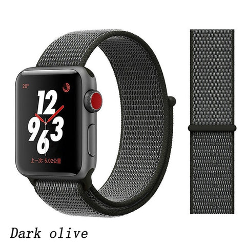 Apple Watch Band 1 Series 38mm Nylon Breathable Sport Loop Dark Olive-CoolDesignOnline