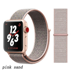 Apple Watch Band 5 Series 44mm Nylon Breathable Sport Loop Pink Sand-CoolDesignOnline