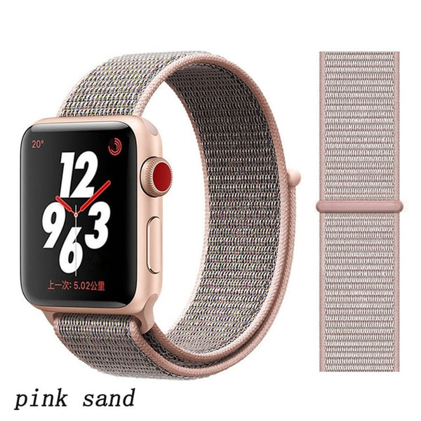 Apple Watch Band 4 Series 44mm Nylon Breathable Sport Loop Pink Sand-CoolDesignOnline