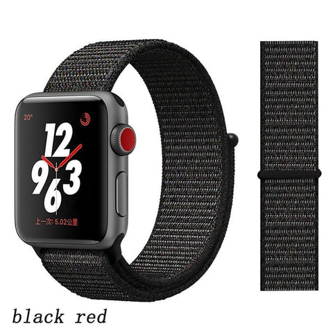 Apple Watch Band 5 Series 44mm Nylon Breathable Sport Loop Black Red-CoolDesignOnline