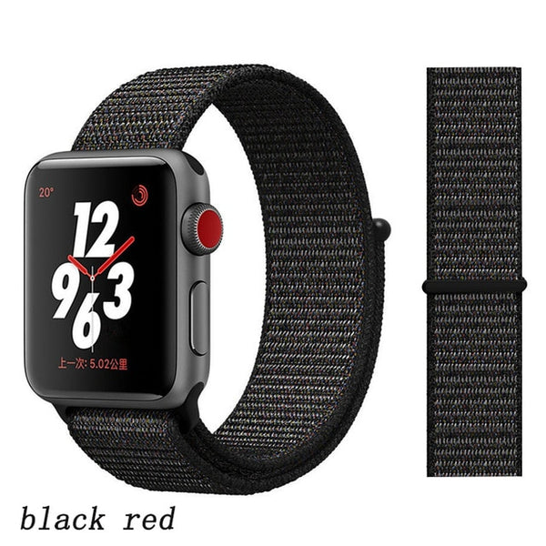 Apple Watch Band 2 Series 42mm Nylon Breathable Sport Loop Black Red-CoolDesignOnline