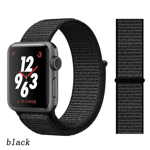 Apple Watch Band 3 Series 42mm Nylon Soft Breathable Sport Loop Black-CoolDesignOnline