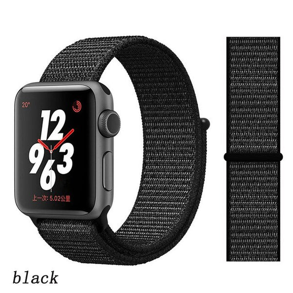 Apple Watch Band 4 Series 44mm Nylon Soft Breathable Sport Loop Black-CoolDesignOnline