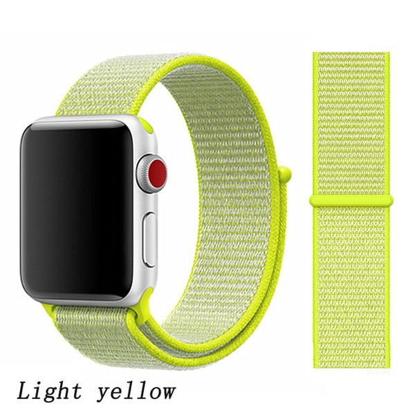 Apple Watch Band 1 Series 42mm Nylon Breathable Sport Loop Light Yellow-CoolDesignOnline