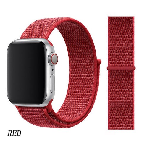 Apple Watch Band 4 Series 44mm Nylon Soft Breathable Sport Loop Red-CoolDesignOnline