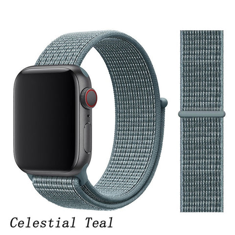 Apple Watch Band 5 Series 44mm Nylon Sport Loop Celestial Teal-CoolDesignOnline