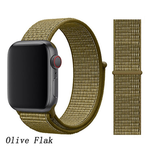 Apple Watch Band 5 Series 44mm Nylon Breathable Sport Loop Olive Flak-CoolDesignOnline