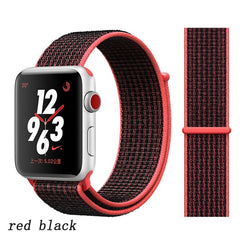 Apple Watch Band 1 Series 42mm Nylon Breathable Sport Loop Red Black-CoolDesignOnline