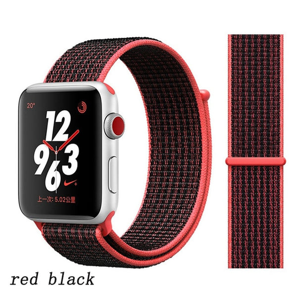 Apple Watch Band 4 Series 44mm Nylon Breathable Sport Loop Red Black-CoolDesignOnline