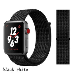 Apple Watch Band 5 Series 40mm Nylon Breathable Sport Loop Black White-CoolDesignOnline
