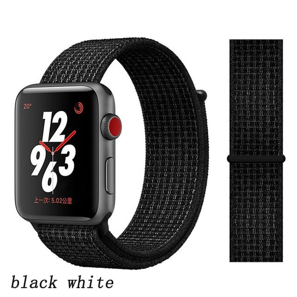 Apple Watch Band 3 Series 42mm Nylon Breathable Sport Loop Black White-CoolDesignOnline