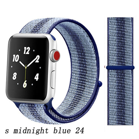 Apple Watch Band 5 Series 40mm Nylon Sport Loop S Midnight Blue 24-CoolDesignOnline