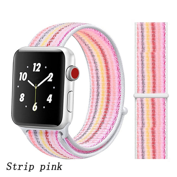 Apple Watch Band 2 Series 38mm Nylon Breathable Sport Loop Strip Pink-CoolDesignOnline