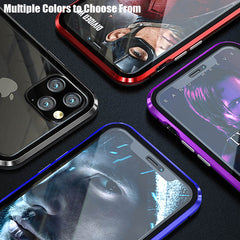 iPhone 11 Case Metal Magnetic Tempered Glass Cover Red-CoolDesignOnline